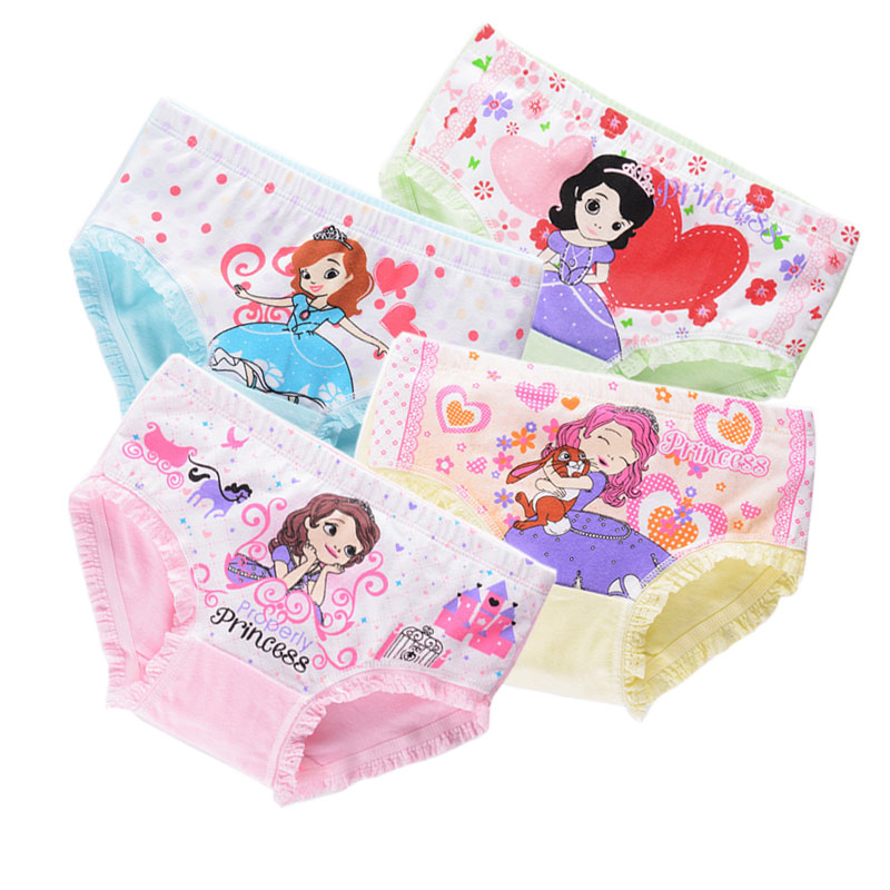 4pcs/lot Cute Cotton Boxer Briefs Princess Girls Underwear Children Kids Baby Cartoon Panties Infant Underpants