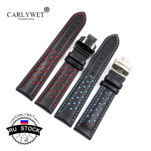 CARLYWET Cowhide Leather Handmade Black Red Blue Watch Band For Omega Montblanc Panerai Daytona Submariner Tissot panerai в москве