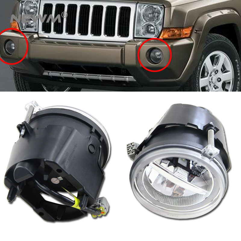 цена 2pcs Led Fog Light With DRL For Dodge Dakota/Durango/Chrysler 300 For Chrysler Aspen For Jeep Commander For Jeep Grand Cherokee