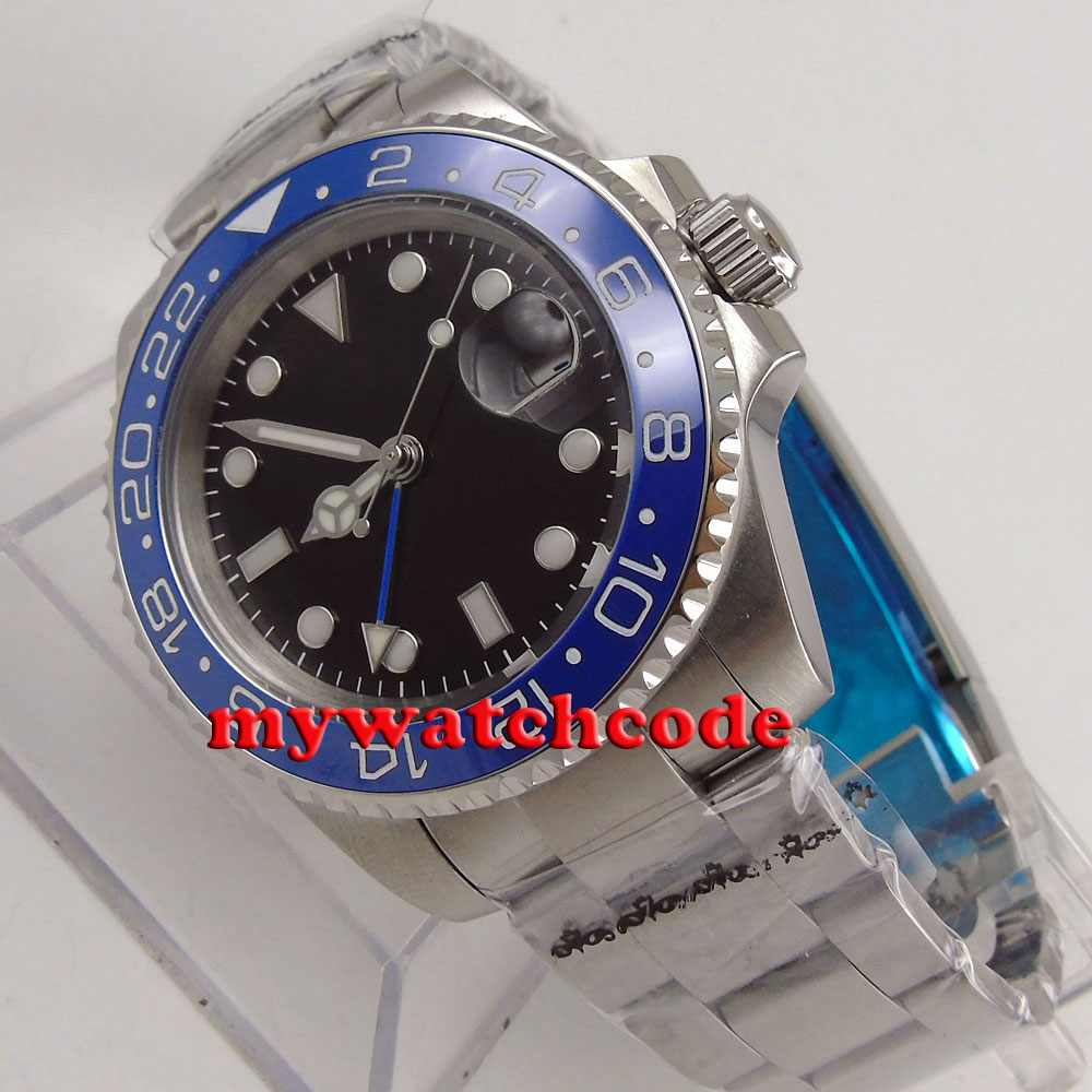 40mm Bliger black dial GMT hands date sapphire glass automatic mens watch P182 цена и фото