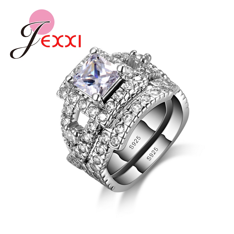 JEXXI 925 Sterling Silver Ring Set 2 PCS Fashion Jewerly Rings For Females With Full High Quality CZ 2016 Hot Selling