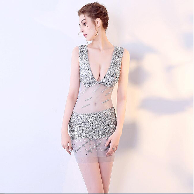 Sexy V-neck See Through Crystal Beading Vestidos De   Cocktail   Sequin Backless Mermaid   Cocktail     Dresses   Mini Prom Party   Dresses