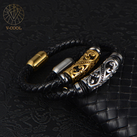 One Piece Order Free Shipping VCOOL Jewelry Silver Gold Colour Metal Braided Rope Leather Bracelets Man