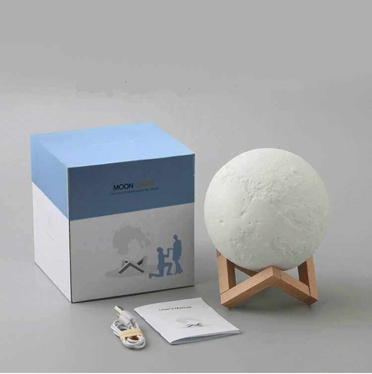 15 CM 3D קסום LED לונה לילה אור ירח מנורת שולחן USB טעינת מגע שליטה