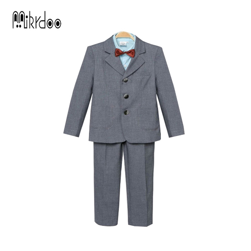 Baby boy clothes blazers tuexdo terno gentleman kids clothing set wedding coat shirt vest pants formal suit children costume hot kids clothing set plaid shirt with grey vest gentleman baby clothes with bow and casual pants 3pcs set for newborn clothes