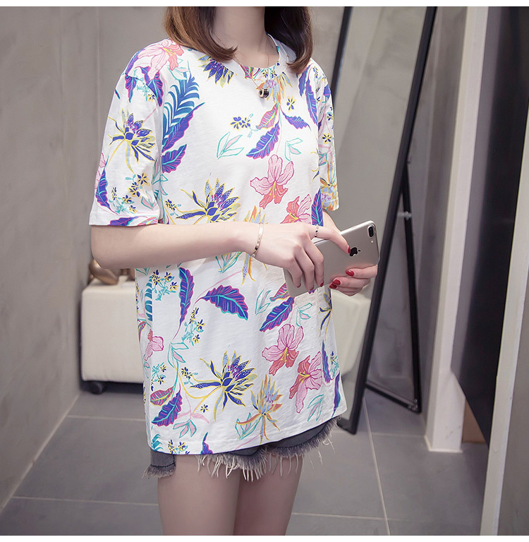 Nkandby Flower Print Summer T-shirt For Woman Fashion Casual Short sleeve Ladies Tshirt 2019 New Bamboo Plus size Basic Tops 4XL 12