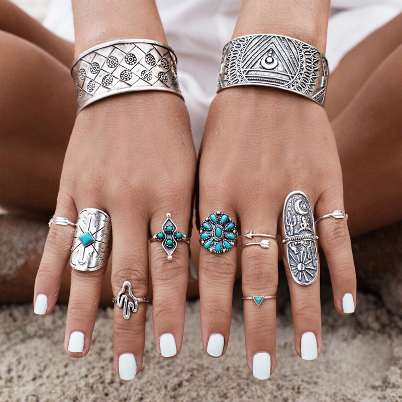 9pcs/Set Vintage Punk Big Rings Set Antique Silver Carved Totem Arrow Finger Ring Boho Beach Jewelry For Women
