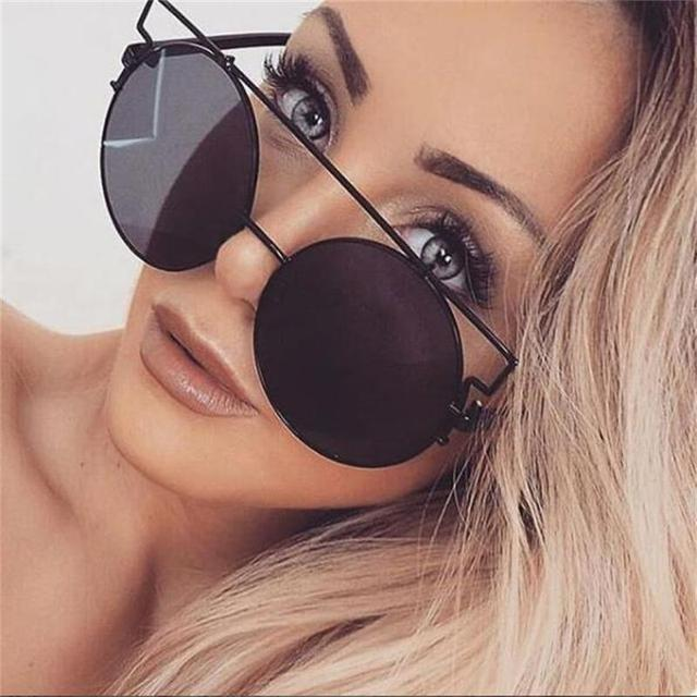 763dd7f1d20d Oversized Round Sunglasses Trend 2018 Metal Frames Big Round Eyewear Red  Mirror Sun Glasses Female Circle