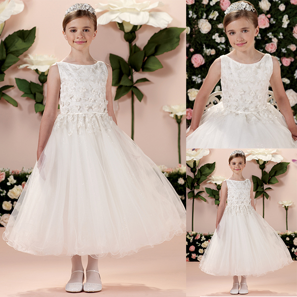 3ccbaa1bc Beautiful 2015 New Design Handmade Appliqued Ankle Length Kids Wedding  Ivory Lace Flowergirl Dress From China Store S012