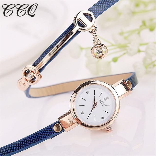 CCQ Hot Women Long Leather Bracelet Watches Gold Fashion Quartz Watch Casual Wrist Watch Relojes Mujer Relogio Feminino 1657 4