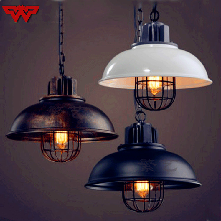 Industrial wind retro chandelier coffee shop bar loft creative personality single head iron pot cover lamps|Pendant Lights| |  - title=
