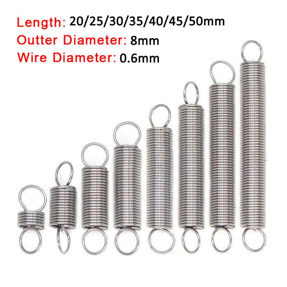 10Pcs 304 Stainless Steel Dual Hook Small Tension Spring