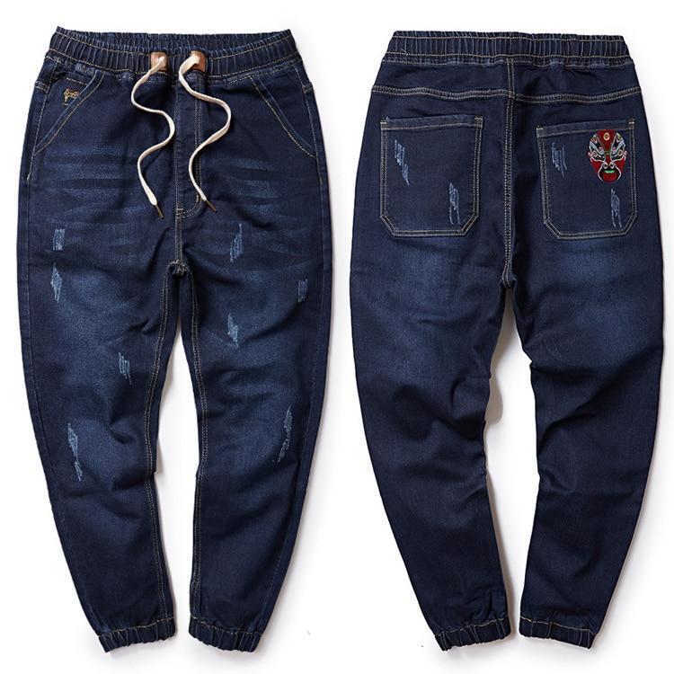 Brand Jeans Winter Drawstring Straight Denim Jeans Men Plus Size M-6XL 7XL 8XL Casual Men Long Pants Trousers Jean  Embroidery