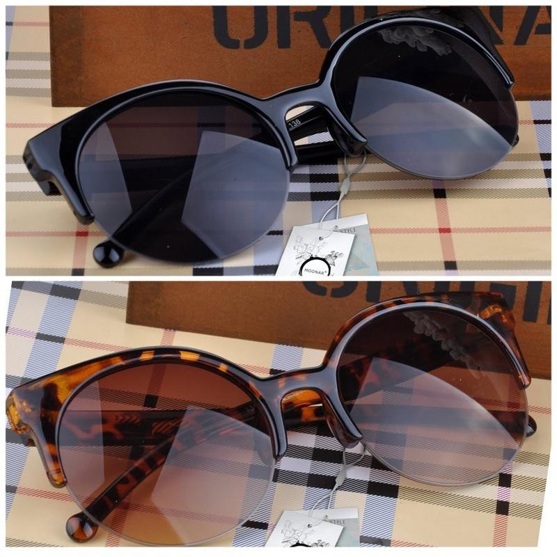 Fashion Cat Eye Sunglasses Women Vintage Semi-Rimless Sun Glasses Gafas Inspired Round Circle Sunglass oculos de sol feminino