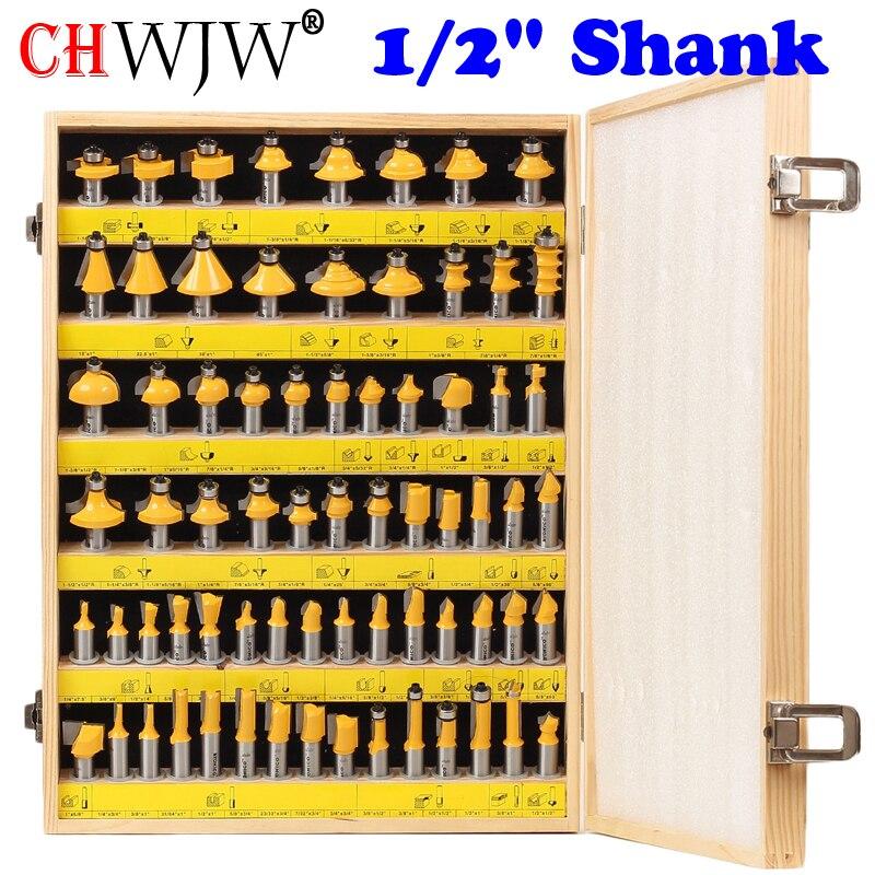 1 2 Shank 70 Bit Professional C3 Carbide Router Bit Set CHWJW 17702