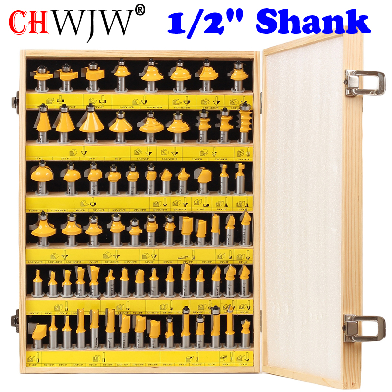 """1/2"""" Shank 70 Bit Professional C3 Carbide Router Bit Set   CHWJW 17702-in Milling Cutter from Tools"""