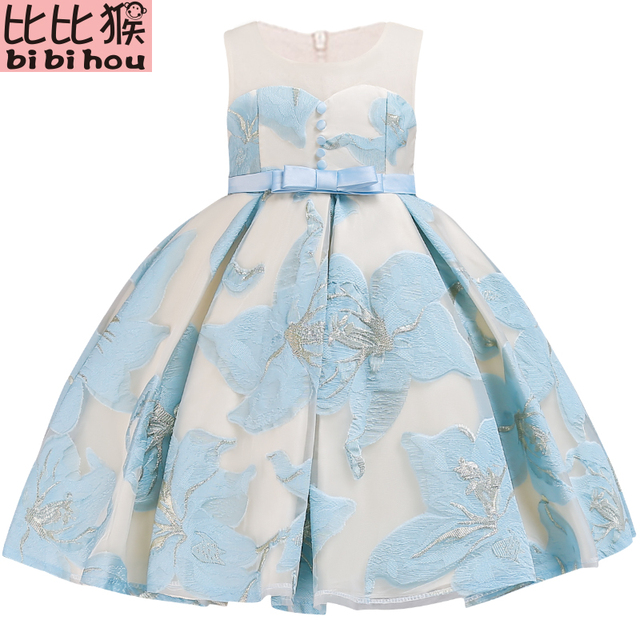 Flower Embroidery Dresses For Wedding Pageant Birthday Dress Toddler Party Princess Gorgeous