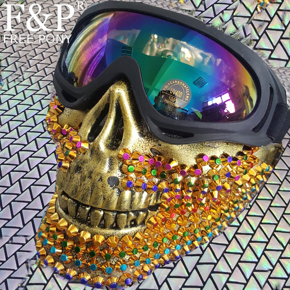 Holographic Goggle Burning Man Rainbow Spike Skull Couture Mask Costumes Summer Festival Rave Clothes Outfits Gear Stage Wear