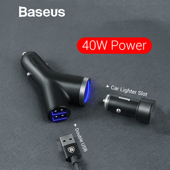 Baseus 3 in 1 Car Charger for iPhone Charger for Mobile Phone Dual USB + Cigarette Lighter for 3 3.4A devices Quick Car Charger 5