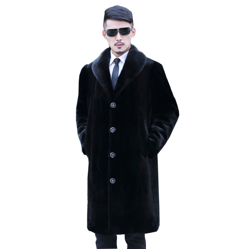 2018 New Autumn and <font><b>Winter</b></font> <font><b>Fur</b></font> Coat <font><b>Men's</b></font> Imitation Water Armor Coat Long Casual Large size <font><b>Men's</b></font> <font><b>Shirt</b></font> Artificial <font><b>Fur</b></font> Size 5XL image