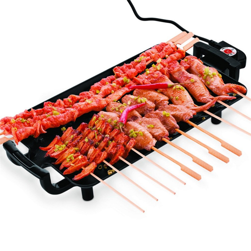 Black Non slip Feet Variable Heat Settings Electric Teppanyaki Table Top Grill Griddle BBQ Barbecue Grill Camping With Spatula