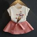 2016 НОВАЯ Мода Белый футболка + Мороженое pure color платье набор принцесса комплект одежды платья девушки одежда 3-7 Т