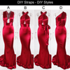 2019 Sexy Mermaid Satin Dresses Floor Length Evening Party Dress Hollow Out DIY Straps Bodycon Backless Evening Gown Dress 4