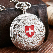 цена на Vintage Silver Red Cross Symbol Anniversary Steampunk Pocket Watch Charming Pendant Necklace Clock Relogio Bolso For Men Women