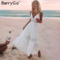 BerryGo белый жемчуг Сексуальная женская летняя обувь платье 2019 выдалбливают Вышивка bodycon хлопчатобумажное платье вечернее вечерние однотонн...