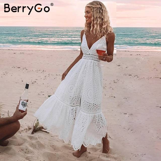d4447642996f Online Shop BerryGo White pearls sexy women summer dress 2019 Hollow out  embroidery bodycon cotton dress Evening party solid long vestidos