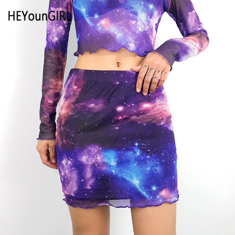 HEYounGIRL Harajuku Woman High Waist <font><b>Mini</b></font> <font><b>Skirt</b></font> <font><b>Sexy</b></font> <font><b>Transparent</b></font> Mesh <font><b>Skirt</b></font> Ladies Tie-dye Space Printed <font><b>Skirts</b></font> Womens Summer image