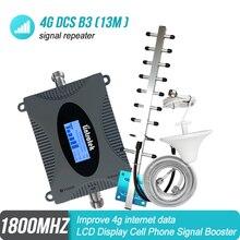 มินิ 4 กรัม LTE 1800 เมกะเฮิร์ตซ์โทรศัพท์มือถือสัญญาณผู้สนับสนุน DCS 1800 3 รีเลย์ Cellular จอแสดงผลเครื่องขยายเสียง Yagi เสาอากาศ + 13 เมตร RG6 ชุด #4