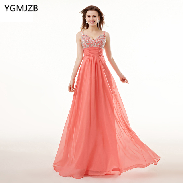 202f19b6d80 Coral Evening Dresses Long 2018 A-Line V Neck Spaghetti Strap Hand Beaded  Crystal Women Formal Evening Gown Plus Size Prom Dress