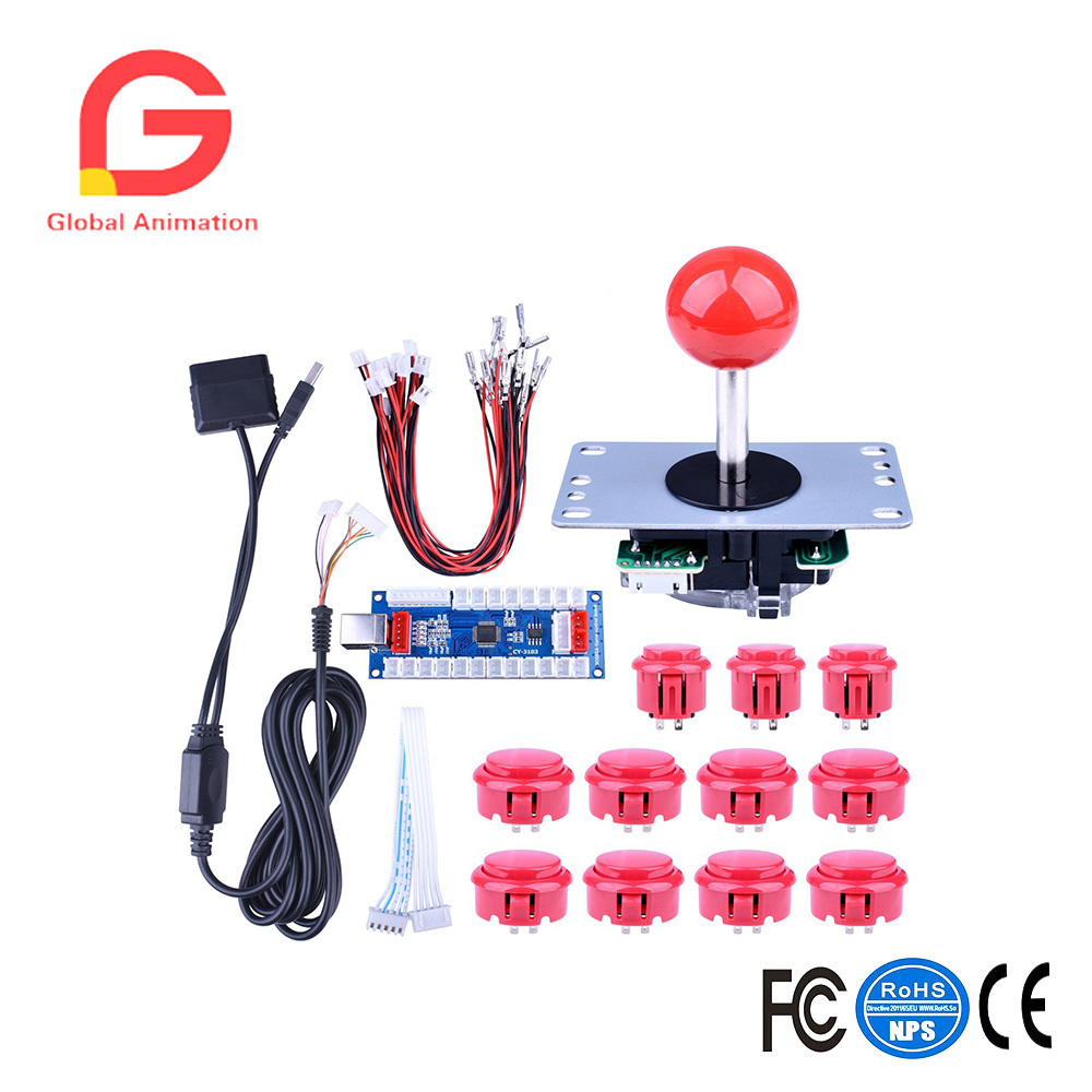 Diy Arcade Game Button And Joysticks Controller Kits For Rapsberry Ps2 Wiring Diagram In Addition Usb To Pi Windows Xbox Ps3 Android Tablet Mobile Phonetv Box Coin Operated Games From