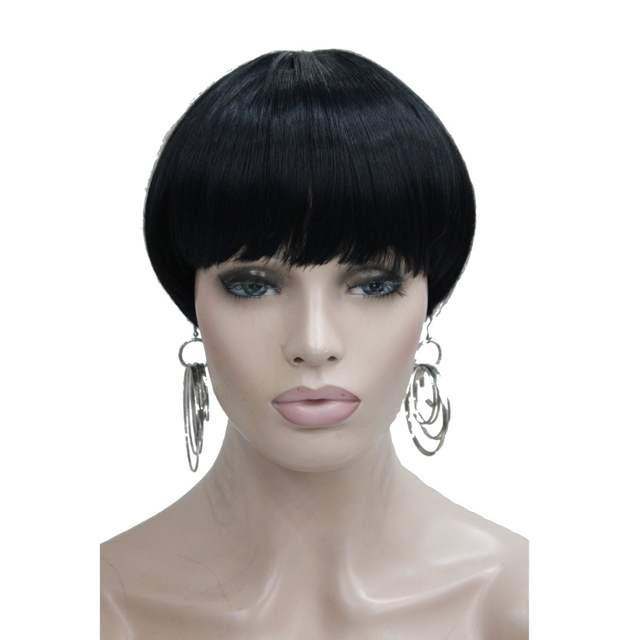 Online Shop Strongbeauty Womens Short Straight Bob Hair Black