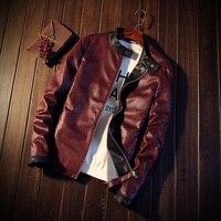YuWaiJiaRen PU Leather Jacket Men Red Navy Blue Zipper Spring Autumn Motorcycle Jaqueta De Couro Masculino Faux Leather Coat