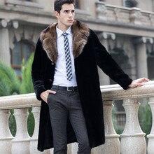 Big Fur Collar Faux Mink Fur Coat Men Plus Size 5XL 4XL Black Long Mens Leather Jacket Winter Warm Trench Outerwear Male Clothes