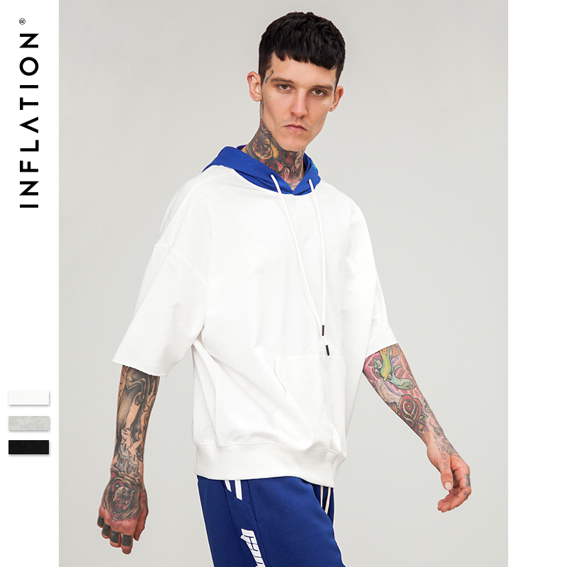 INFLATION 2018 New Arrivals Men Hoodie Short Sleeve T-shirt Sportwear Streetwear Oversized Top Tee Loose Fit Clothing 8183S