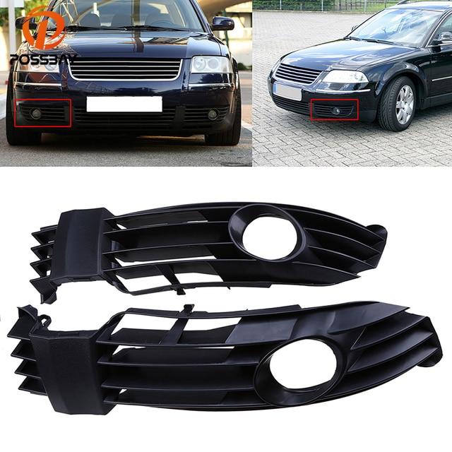 POSSBAY Left/Right Fog Light Cover Grille Fit for VW Passat B5.5 Sedan/Variant 2001-2005 Facelift Black Front Lower Bumper Grill