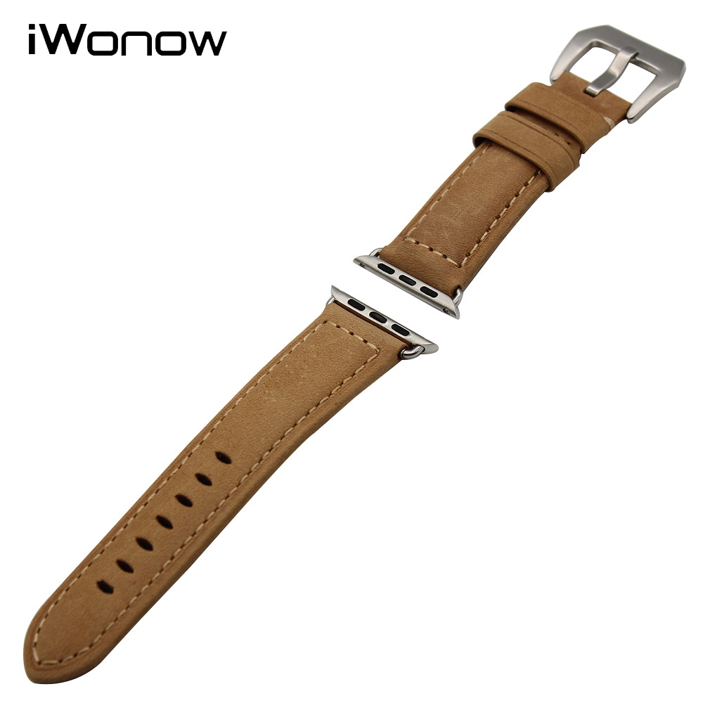 Genuine Leather Watchband for 38mm 42mm iWatch Apple Watch / Sport / Edittion Stainless Clasp Band Wrist Strap Bracelet +Adapter contact s genuine leather men wallet passport cover short male wallet coin purse card holder vintage zipper men wallets carteira