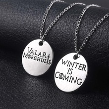 A Pair Game Of Thrones Necklace Pendant House stark Valar Morghulis &Winter Is Coming Couple Choker Women Men Cosplay Jewelry цена
