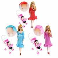 Spielzeug Familie 3 Menschen Puppen Anzüge 1 Mama/Baby Sohn/1 Baby Wagen Echt Schwangere Puppe Geschenke