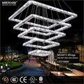 Квадратный кристалл светодиодный подвесной светильник прямоугольная хрустальная Подвесная лампа 5 квадратов Хрустальная лестница освеще...