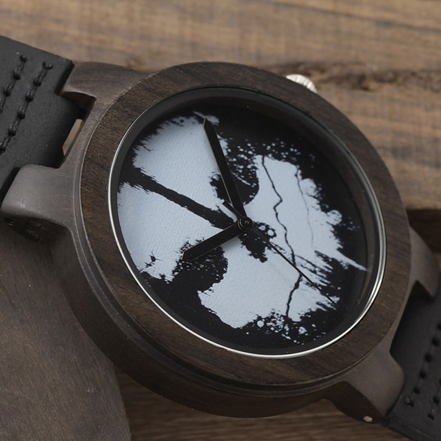 MYSTERIOUS SKULL WOOD LEATHER BAND WATCH
