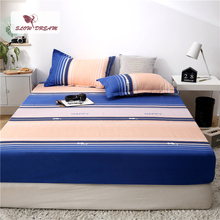 Slowdream 1PCS Striped Fitted Sheet On Mattress Bed Elastic Band Rubber Cover Double Single Corner Linen
