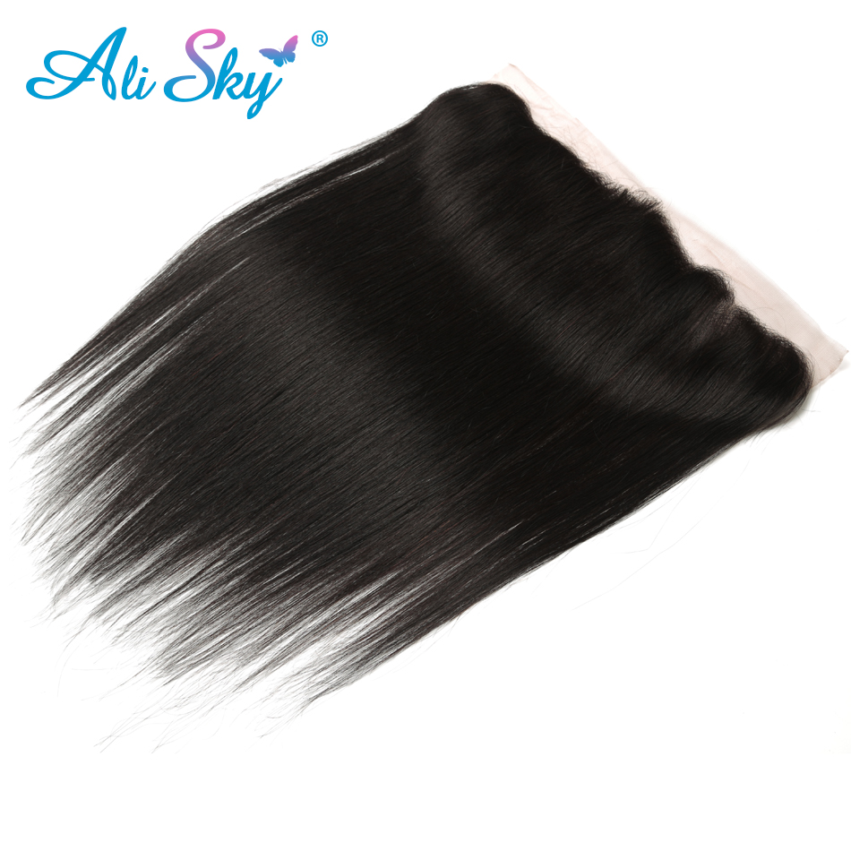 Ali Sky Peruvian Hair Straight Lace Frontal Closure 13*4 Free Part 100% Human Hair pre plucked with baby hair 1b non remy