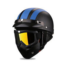 Military Style Motorcycle Helmet Vintage 3/4 Open Face Retro Motorbike Scooter Motorcycle Leather Helmet + Goggle Mask Moto vintage leather motorcycle helmet retro harley style scooter helmet men women s 3 4 moto casco goggles mask for open face helmet