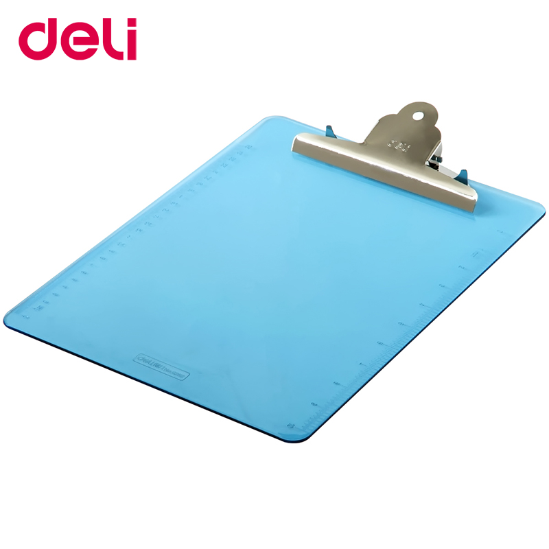 Deli Writing Board Clip 9252 Transparent Folder A4 Pad Plate Clip Plastic Hanging Workshop Office Stationery Fashionable