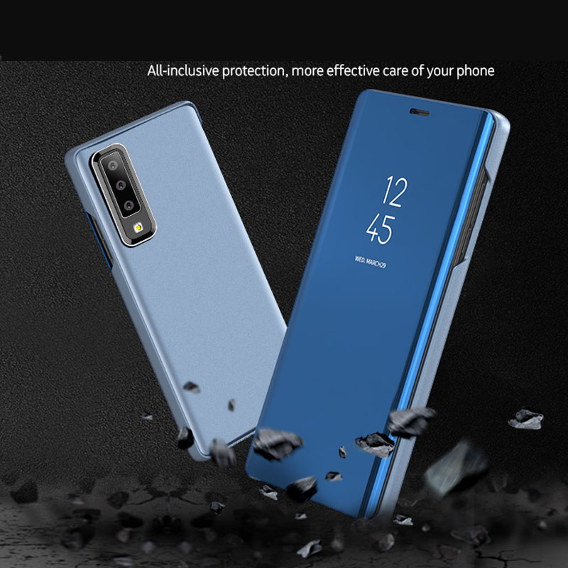 Plating Mirror Flip Phone Case For Samsung Galaxy A7 A6 A6+ A8 Plus A9 2018 A750 Stand Luxury Protectors Cover 50PCS/Lot-in Fitted Cases from Cellphones & Telecommunications    1