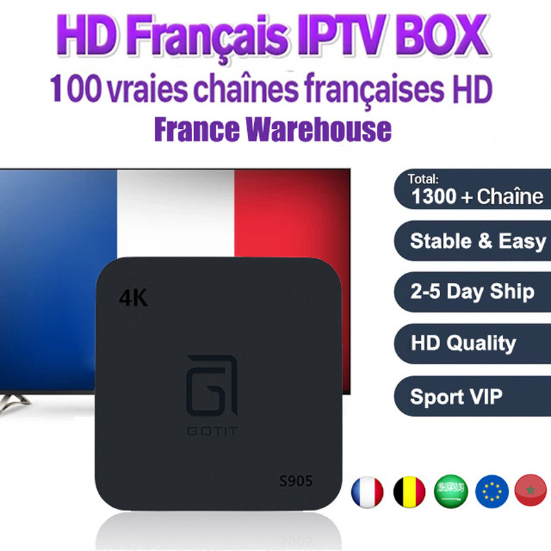 IPTV Subscription Android TV S905 Box Media Player With 1Year French Arabic Belgium IPTV VOD Kodi Preloaded Free Smart IPTV Box